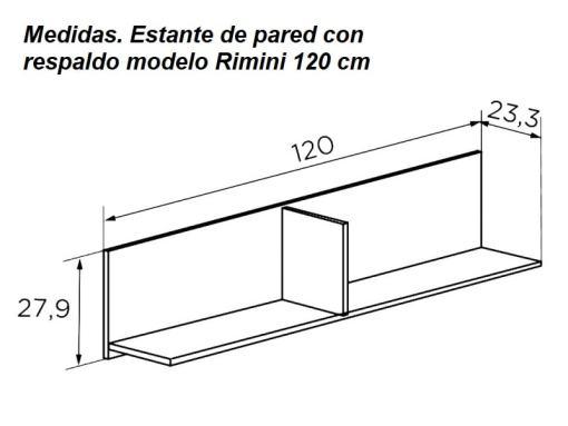 Medidas. Estante de pared con respaldo, 120 cm, modelo Rimini