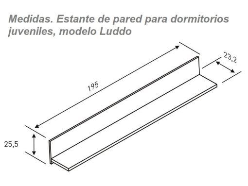 Medidas. Estante de pared para dormitorios juveniles modelo Luddo