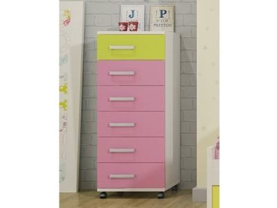 Tall Children's Chest of Drawers on Wheels - Luddo. 1 Green Drawer, 5 Pink Drawers