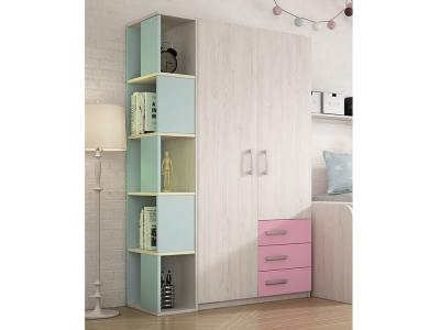 Blue Shelves, Pink Drawers. Wardrobe with Side Shelves for Kids Rooms, 2 Doors, 5 Tiers - Luddo