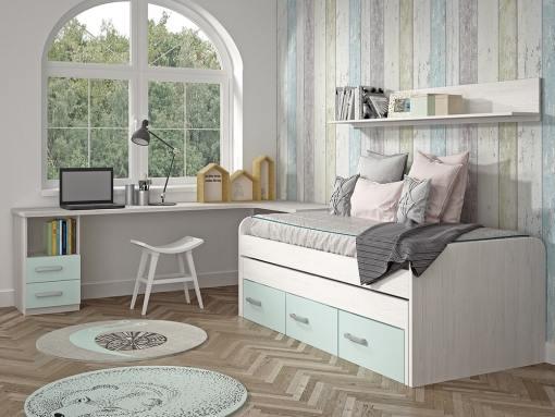 Kids Bedroom Furniture Set in Blue. Trundle Bed with Drawers, Corner Desk, Shelf - Luddo 13
