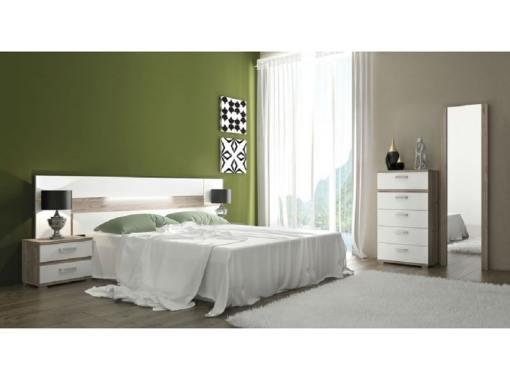 Dormitorio con luces LED. Marrón (nelson) - blanco. Sinfonier, 2 mesas de noche, cabecero, espejo - Cremona 01
