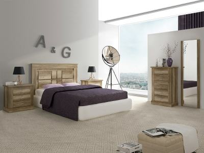 Bedroom Furniture Set in Imitation Wood Finish with Tall Chest of Drawers - Alabama 01