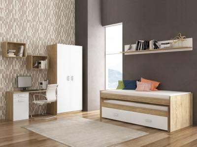 Bedroom Furniture Set: Trundle Bed with Drawers, Wardrobe, Desk, 3 Shelves - Rimini 05
