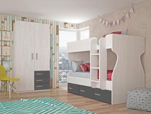Dormitorio juvenil - cama litera con armario de 2 puertas, 3 cajones, gris oscuro con gris claro - Luddo 24
