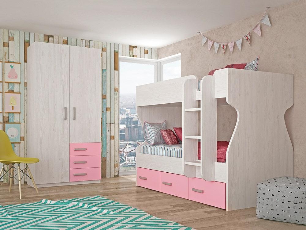 Children's Bedroom Set: 3 Drawer Bunk Bed, 2 Door Wardrobe – Luddo 24 - Don  Baraton