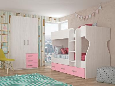 Children's Bedroom Set in Pink: 3 Drawer Bunk Bed, 2 Door Wardrobe – Luddo 24