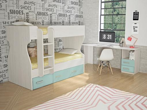Dormitorio juvenil, color azul - cama litera con cajones y escritorio - Luddo 26