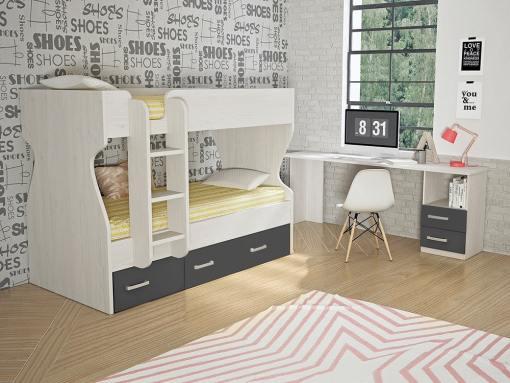 Dormitorio juvenil, color gris - cama litera con cajones y escritorio - Luddo 26