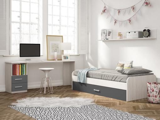 Dormitorio juvenil color gris - escritorio de 2 cajones, cama nido y estante de pared - Luddo 05