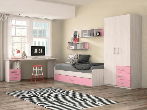 Dormitorio juvenil - color rosa - cama nido, mesa de estudio, armario y estanterías - Luddo 06