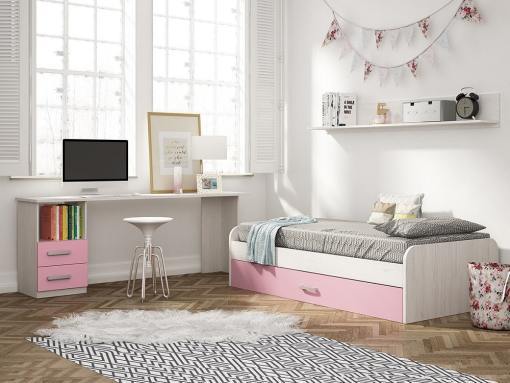 Dormitorio juvenil color rosa - escritorio de 2 cajones, cama nido y estante de pared - Luddo 05