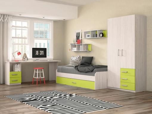 Dormitorio juvenil - color verde - cama nido, mesa de estudio, armario y estanterías - Luddo 06