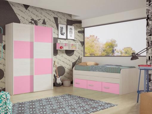 Dormitorio juvenil. Armario puertas correderas, cama 3 cajones y estantería. Color rosa - Luddo 10