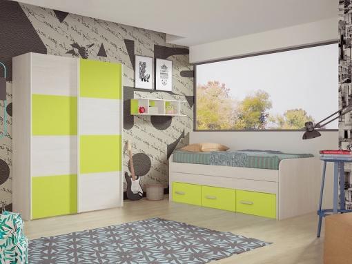 Dormitorio juvenil. Armario puertas correderas, cama 3 cajones y estantería. Color verde - Luddo 10