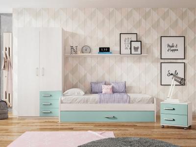 Dormitorio juvenil. Azul y gris claro. Cama nido, mesa de noche, armario y estante - Luddo 01