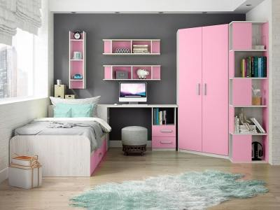 Children's Furniture Set in Pink. Corner Wardrobe with Side Shelves, Desk, Bed, Shelves - Luddo 02