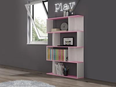 Floor Standing Shelving Unit in Pink for a Children's Room, 4 Tiers - Luddo