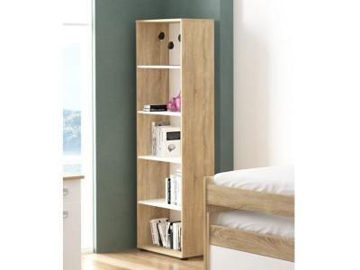 Inexpensive Narrow 5 Tier Bookcase, White and Oak - Rimini