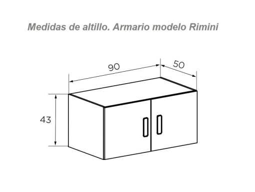 Размеры верхнего отделения для хранения шкафа Rimini