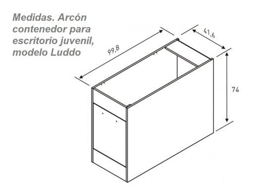 Medidas. Arcón contenedor para escritorio juvenil, modelo Luddo