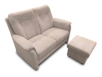 Sofá 2 plazas con puf, tela color gris claro - Irene