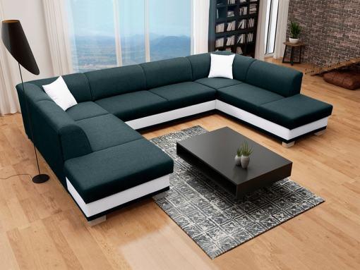 Sofá esquinero en forma de U con cama y 2 arcones, negro y blanco - Azores