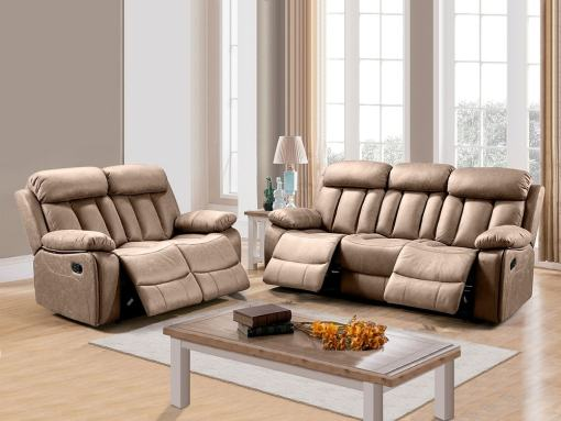 Set of Recliner Sofas Uholstered in Beige Fabric - 3 Seater & 2 Seater (3+2) - Barcelona