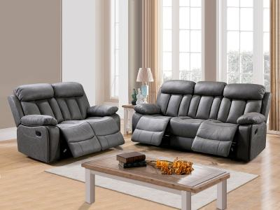 Set of Recliner Sofas Uholstered in Grey Fabric - 3 Seater & 2 Seater (3+2) - Barcelona