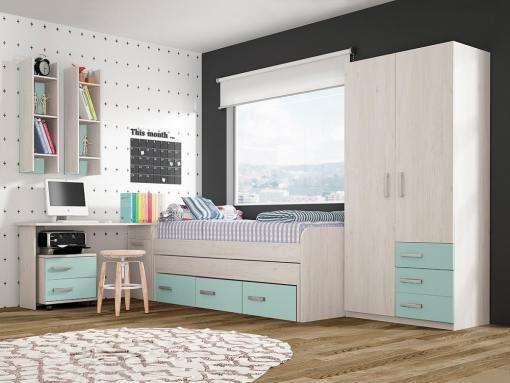 Conjunto dormitorio juvenil, color azul - cama, armario, escritorio, mesa de noche y estanterías - Luddo 18