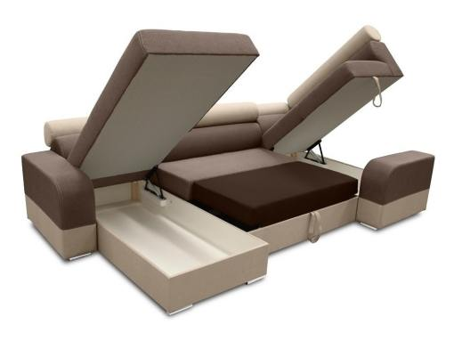 Two storage compartments and pull-out bed. U-shaped sofa - Milan. Right Side Corner, Brown and Beige
