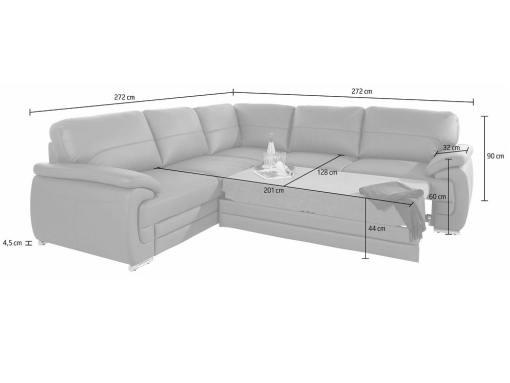 Medidas de la cama del sofá rinconera de piel auténtica modelo Dallas