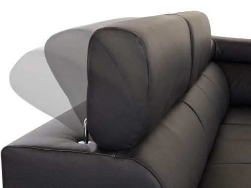Reposacabezas reclinables. Sofá rinconera cama en piel auténtica - Seattle
