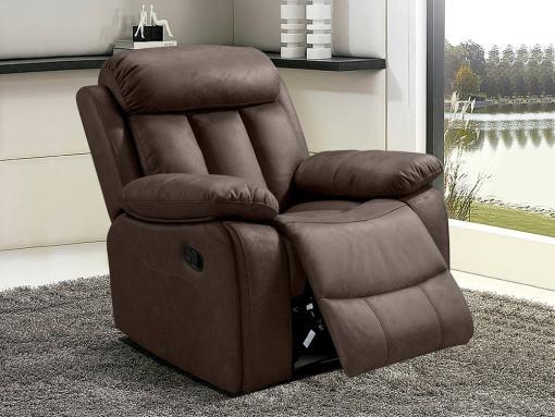 """Кресло реклайнер с обивкой из коричневой ткани (""""шоколад"""") - Barcelona. Ткань Jade"""