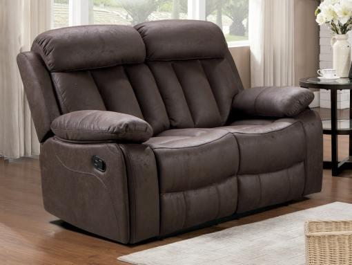 Sofá 2 plazas relax con reposapiés, respaldos reclinables, color marrón oscuro (chocolate) - Barcelona