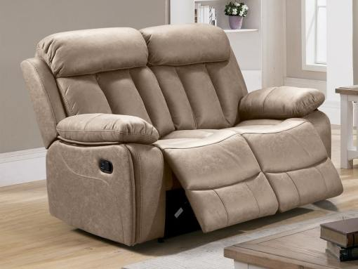 2 Seater Recliner Sofa Upholstered in Beige Fabric - Barcelona. Fabric Jade