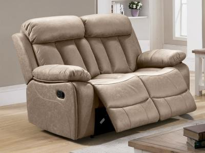 2 Seater Recliner Sofa Upholstered in Beige Fabric - Barcelona