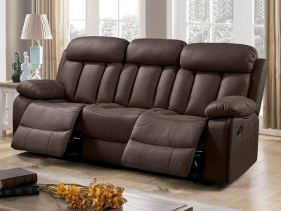 Three Seater Recliner Sofa Upholstered in Brown (Chocolate) Fabric – Barcelona