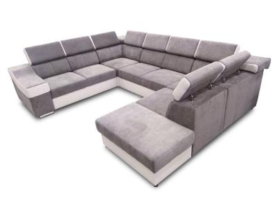 Seven seater U-shaped sofa with pull-out bed - Cannes. Armrest on the left. Light grey fabric / white faux leather