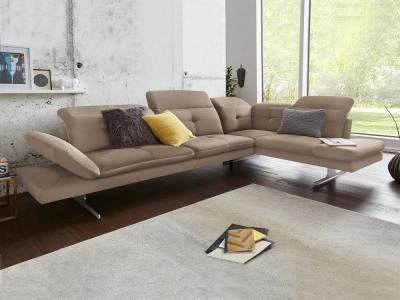 "Modern Real Leather Corner Sofa, ""Latte"" Colour. Right Side Corner - New York"