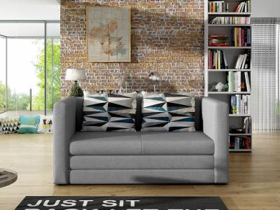 Small Affordable Sofa Bed - Oxford. Grey with Multicolour Cushions - Oxford