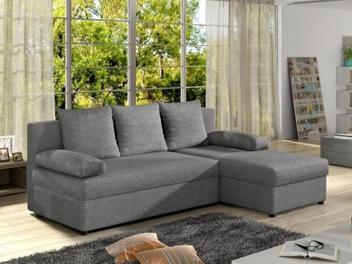Small chaise longue sofa bed - York. Light grey fabric. Chaise longue on the right