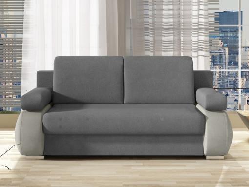 Vista frontal. Sofá cama pequeño moderno con cojines laterales modelo Cambridge