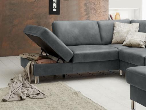Arcón abierto del sofá tapizado en piel auténtica color gris modelo Cleveland