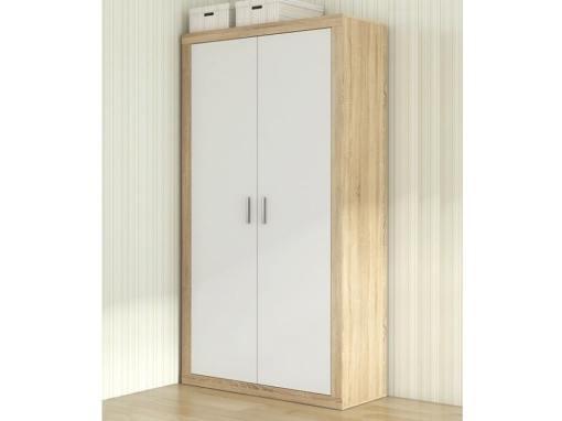 Armario moderno pequeño, 2 puertas batientes - Catania. Roble con puertas blancas
