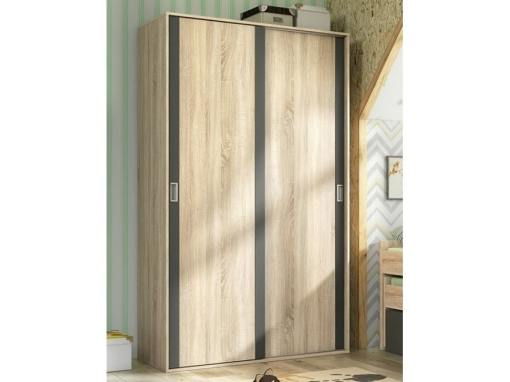 Armario pequeño de 2 puertas correderas - Catania. Color roble con líneas color grafito (gris oscuro)