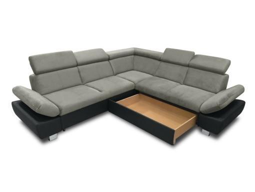 Baúl modo abierto (lado derecho) del sofá rinconera con cama modelo Reims