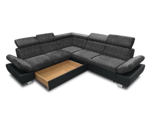 Baúl modo abierto (lado izquierdo) del sofá rinconera con cama modelo Reims. Color gris oscuro con negro