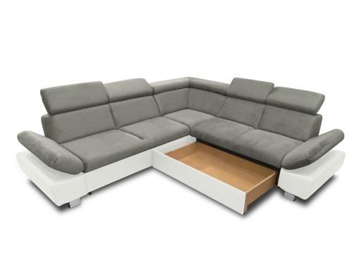 Baúl modo abierto (lado derecho) del sofá rinconera con cama modelo Reims. Gris blanco