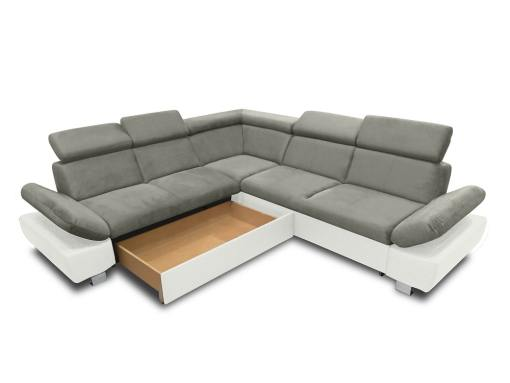 Baúl modo abierto (lado izquierdo) del sofá rinconera con cama modelo Reims. Gris blanco